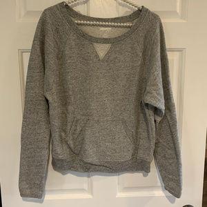 Xersion Yoga Ladies Gray Wide Neck Sweatshirt
